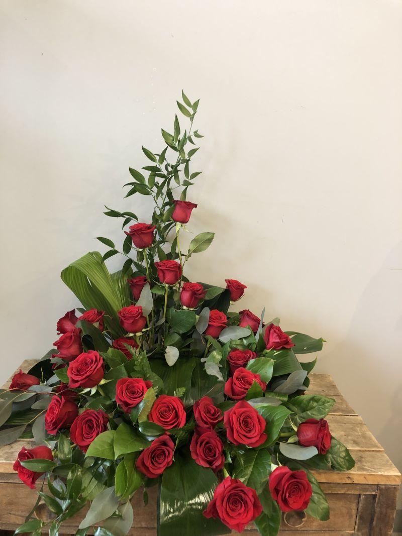 Accompagnement urne de rose